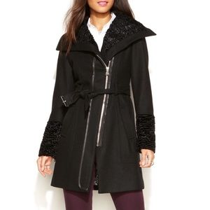 Guess Wool Blend Faux Fur Black Winter Coat
